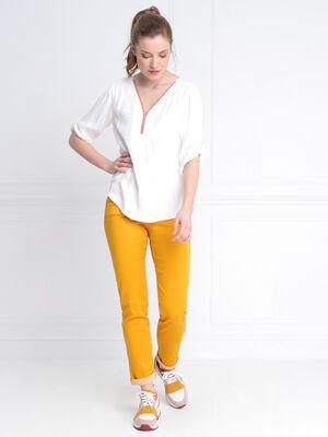 Pantalon taille basculee jaune or femme