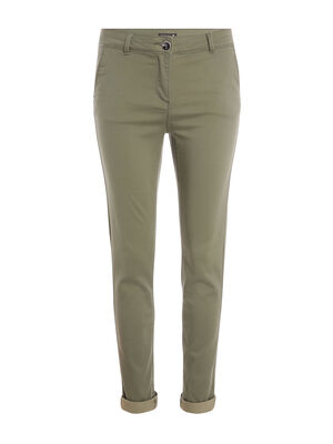 Pantalon ajuste urbain vert kaki femme