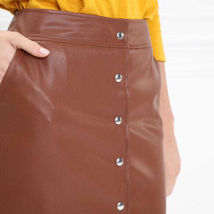 Jupe crayon aspect cuir lisse marron clair femme