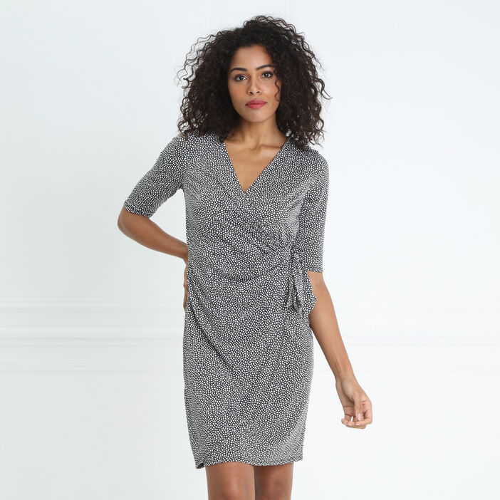 Robe courte ajustée drapée taille nouée noir femme