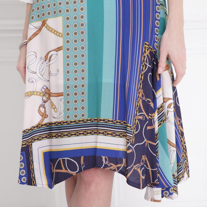 Jupe foulard imprimée bleu marine femme