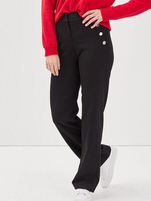 Pantalon droit large taille haute noir femme