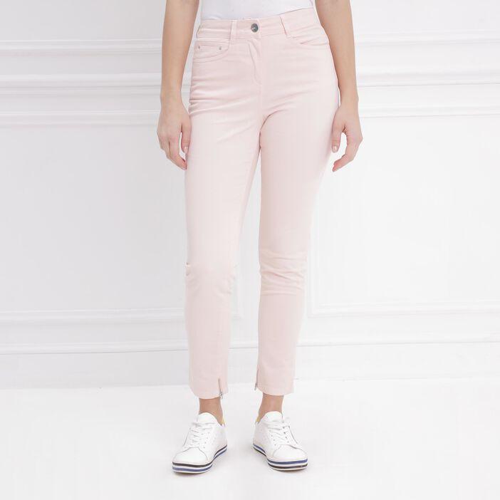 Pantalon ajusté taille haute rose clair femme