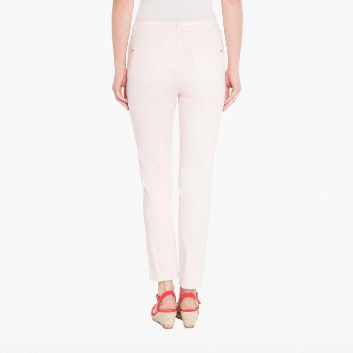 Pantalon slim coloris uni vieux rose femme