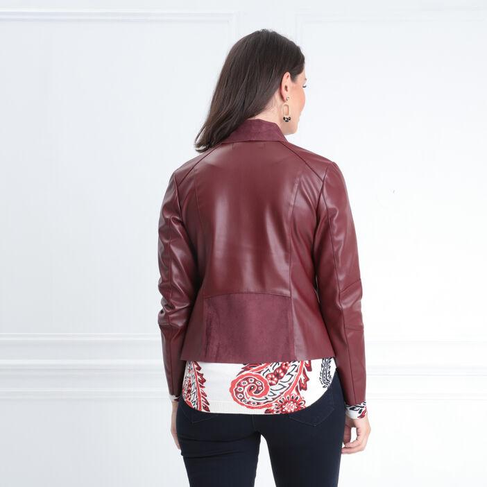 Veste cintrée esprit motard rouge foncé femme