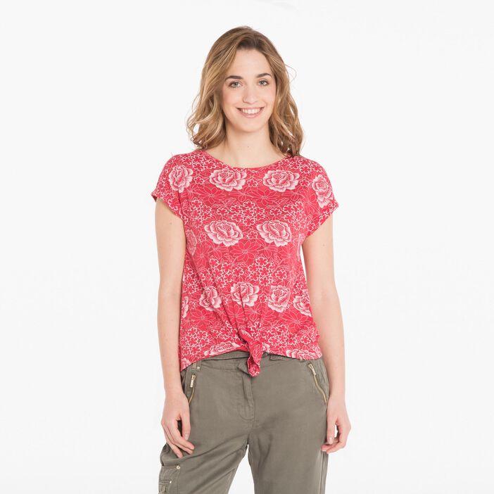 T-shirt fleuri rouge fluo femme