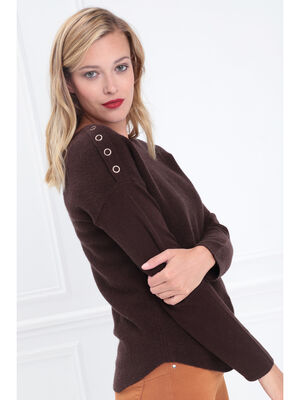 Pull manches longues col rond marron fonce femme