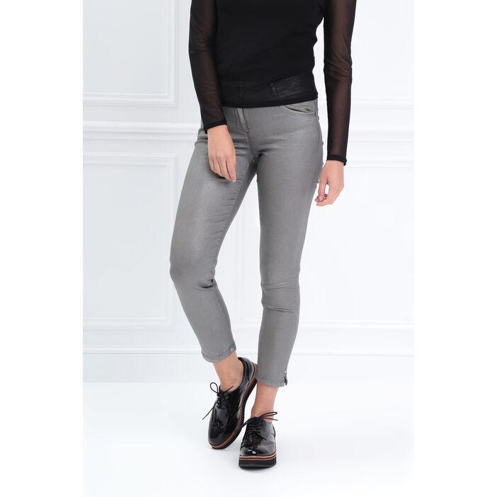 Pantalon ajusté détail zippé gris femme