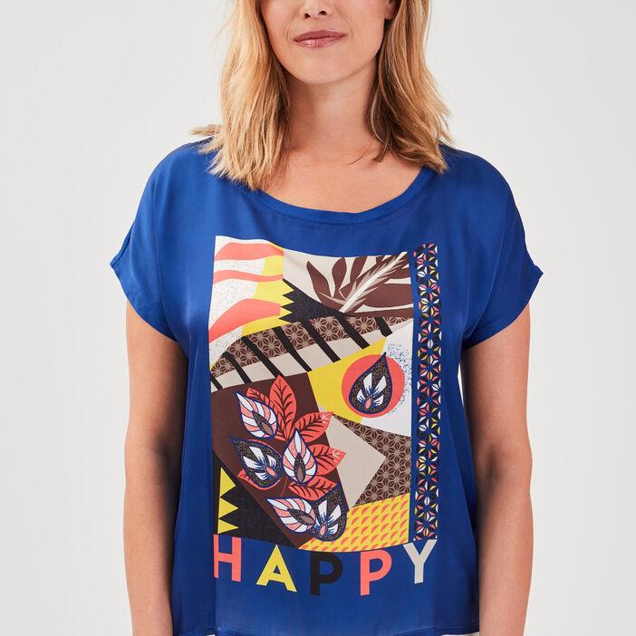 T-shirt manches courtes bleu electrique femme