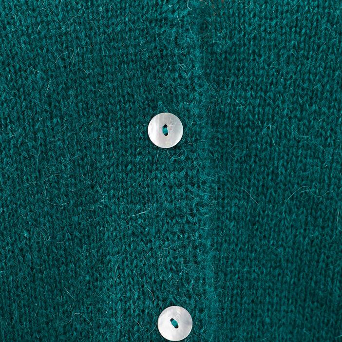 Gilet manches longues boutonné vert émeraude femme