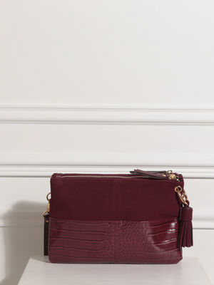 Sac bandouliere a pampille rouge fonce femme