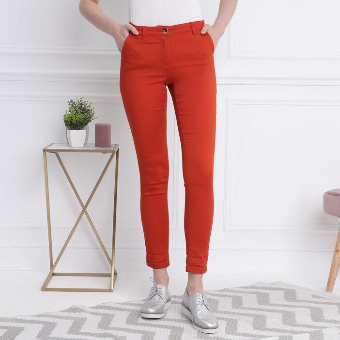 Pantalon taille basculée rouge femme