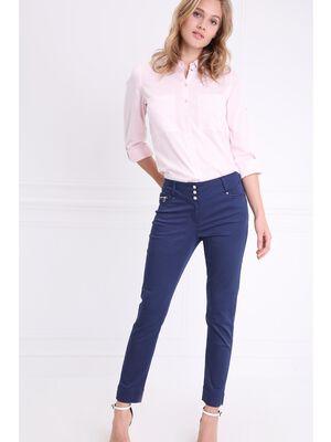 Pantalon imprime a pois bleu fonce femme