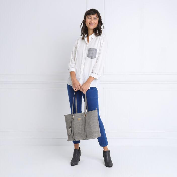 Chemise manches 3/4 à poche blanc femme