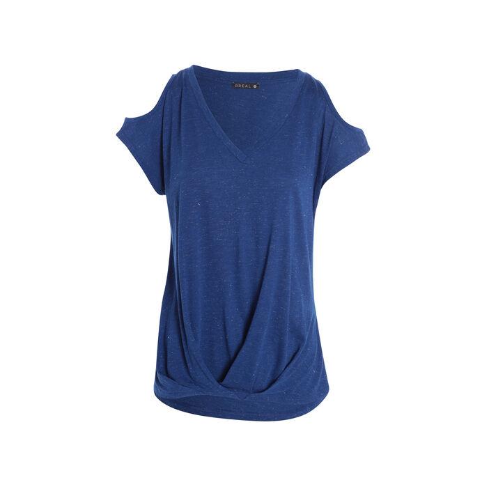 T-shirt ouvert sur épaules bleu electrique femme