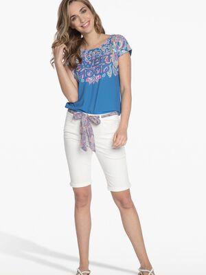T shirt imprime bleu clair femme