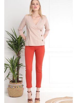 Pantalon 78 taille standard rouge femme