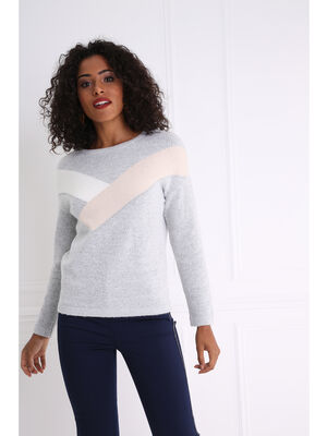 Pull colorblock gris clair femme