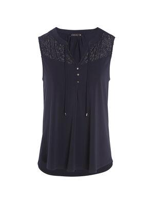 Tee shirt sans manches bleu fonce femme