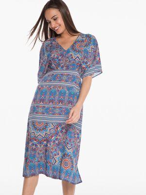 Robe longue imprimee bleu turquoise femme