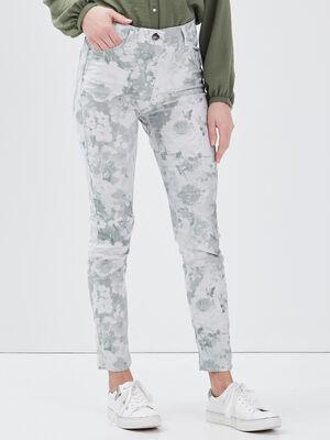 Pantalon leger imprime vert clair femme