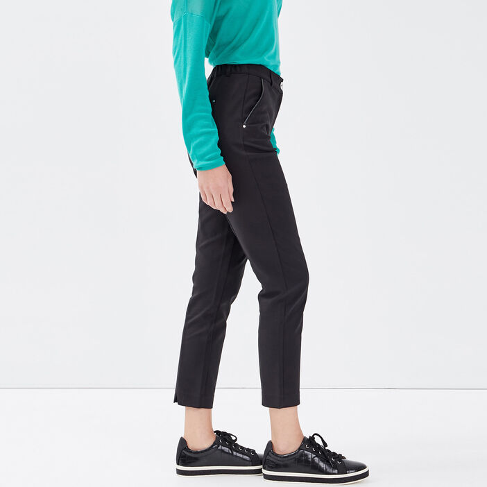 Pantalon ajusté noir femme