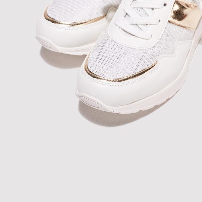 Baskets compensées ecru femme