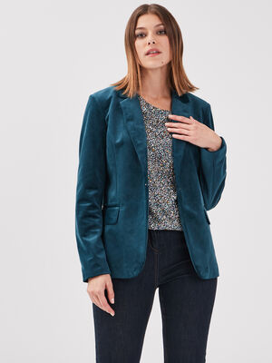 Veste de tailleur droite vert canard femme