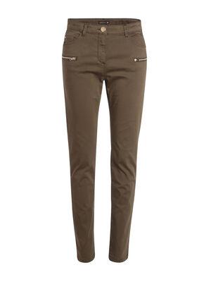 Pantalon ajuste details zippes vert kaki femme