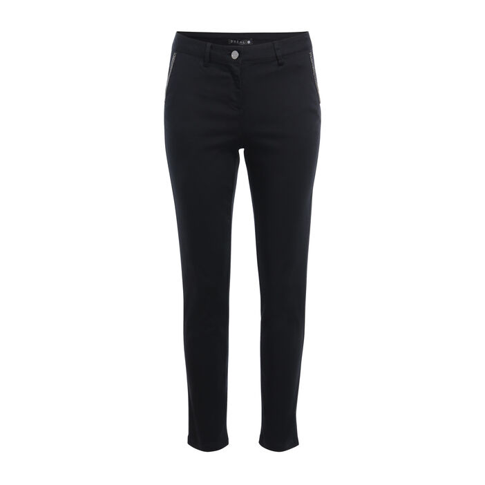 Pantalon ajusté détails bijoux noir femme