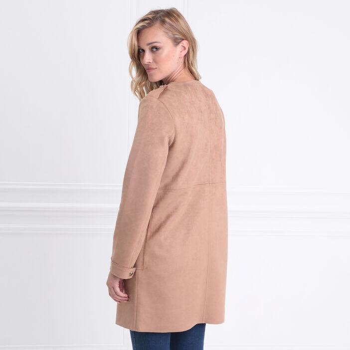 Manteau droit boutonné suédine marron clair femme