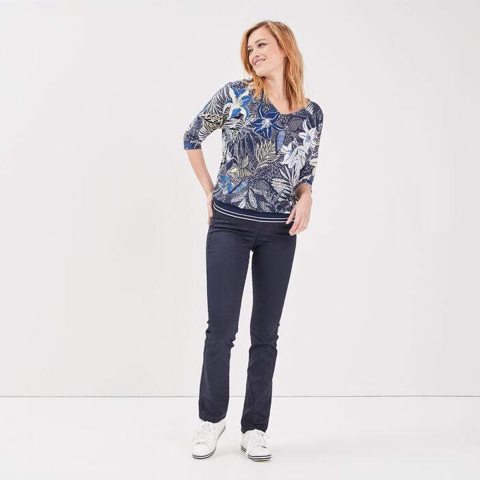 Pantalon droit taille basculée bleu foncé femme
