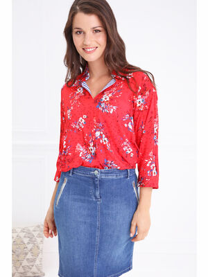 Chemise col francais motif floral rouge femme
