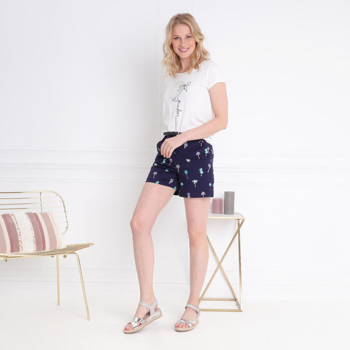 Short droit taille standard bleu foncé femme