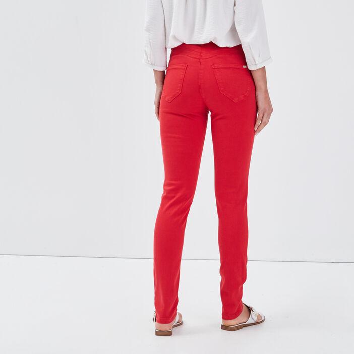 Jean ajusté taille standard rouge femme