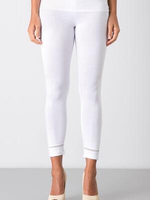 Legging avec petite bande elastique blanc femm