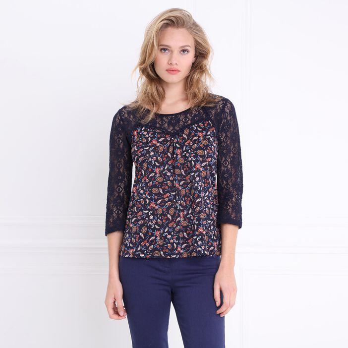 T-shirt manches 3/4 bimatière bleu foncé femme