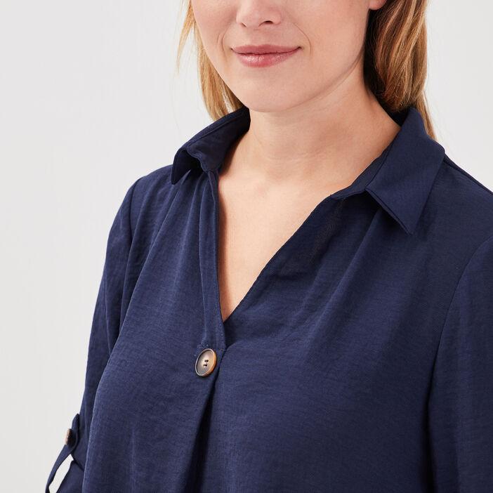 Blouse manches 3/4 boutonnées bleu marine femme