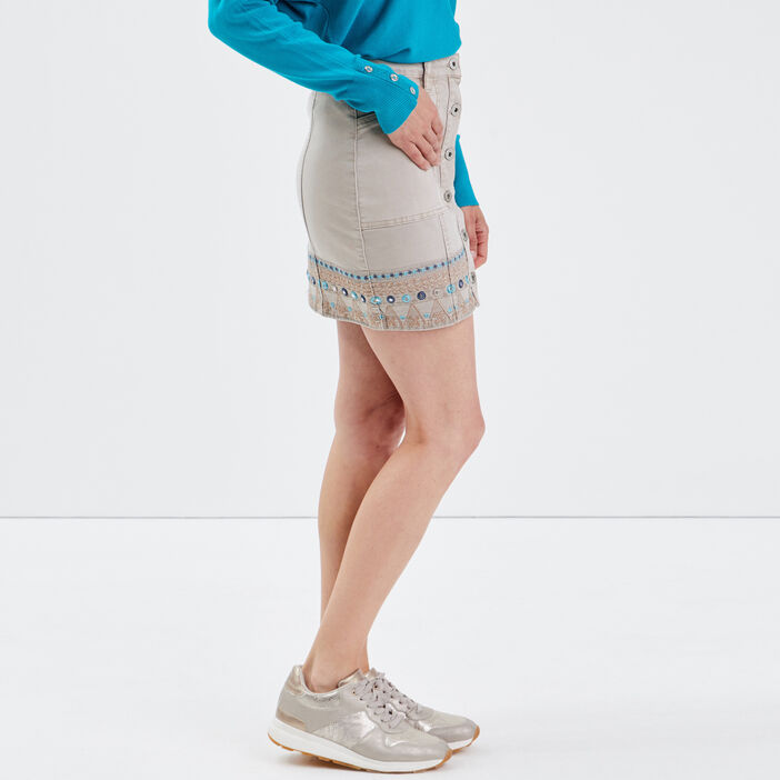 Jupe droite en jean camel femme
