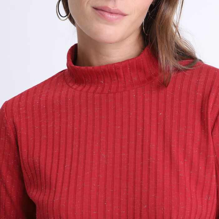 Pull manches longues côtelé rouge femme