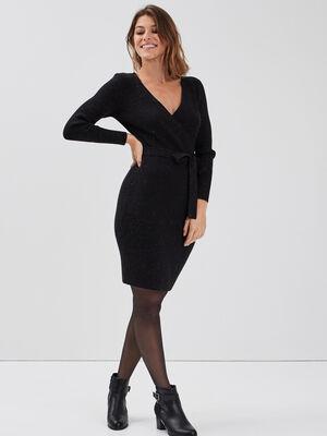 Robe pull ajustee ceinturee noir femme