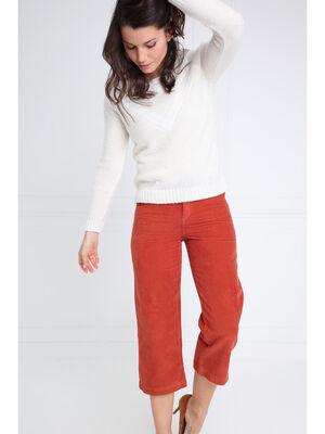 Pantalon jupe culotte marron fonce femme