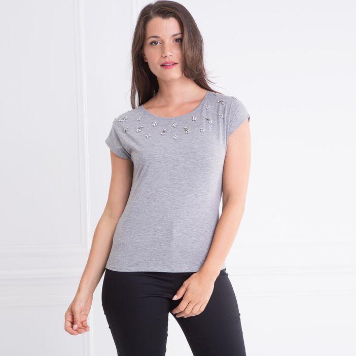 T-shirt col rond chiné bijoux gris clair femme