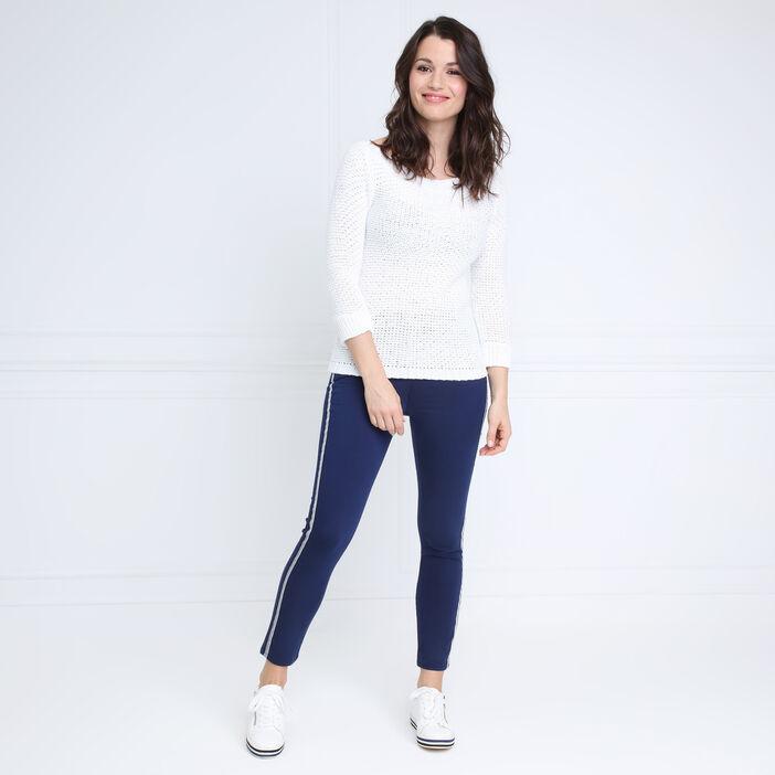 Pantalon taille basculée bleu foncé femme