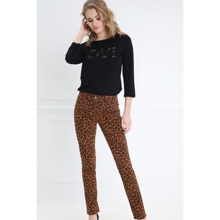 Pantalon ajusté taille standard marron clair femme