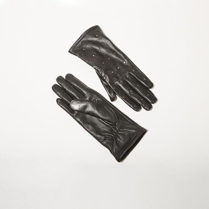 Gants en cuir avec clous noir femme