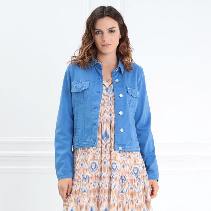 Veste droite courte brodée bleu femme