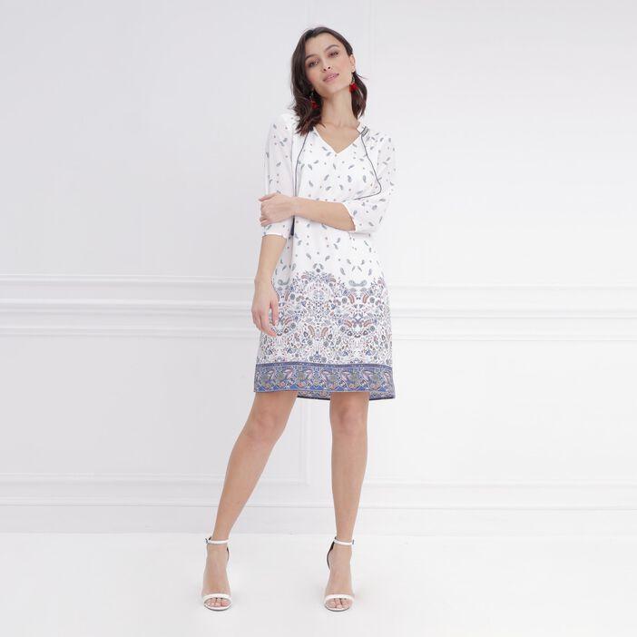 Robe droite imprimé détail pompons blanc femme