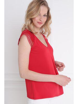 T shirt manches courtes et pli rouge femme