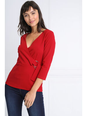 T shirt manches 34 col croise rouge femme